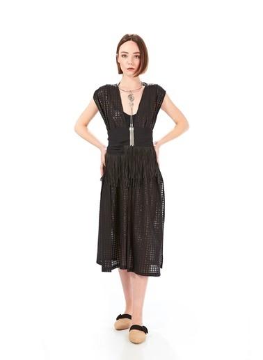Women&Women Siyah Yelek Kimono, Beli Saçak Kemerli Siyah